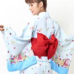 トロピカル浴衣(ミニー&ディジー&クラリスver.)ブルー後ろ見