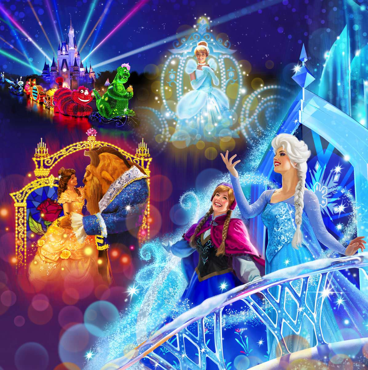 Anna and Elsa's Ice Castle, Beauty and the Beast and Cinderella floats