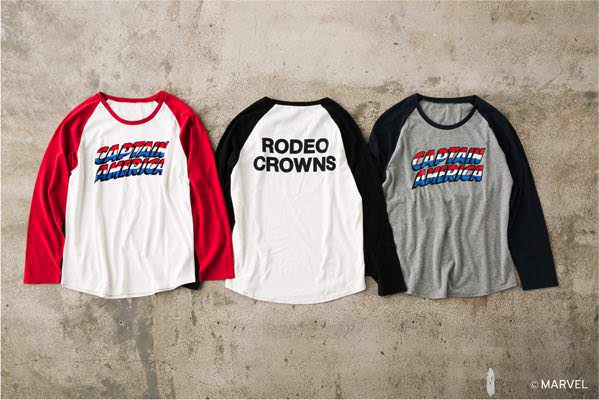 CAPTAIN AMERICA ラグランTシャツ(RODEO CROWNS) RED/NVY/BLK ¥3,990+tax