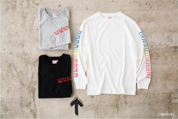 MARVEL LOGO LONG TEE (MOUSSY) WHT/T.GRY/BLK ¥5,980+tax