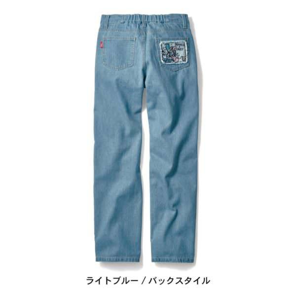 刺繍ポケットデニムパンツ ライトブルー バックスタイル