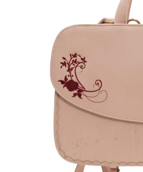 axes バラ刺繍型押し3WAYバッグ 淡ピンク デザインアップ