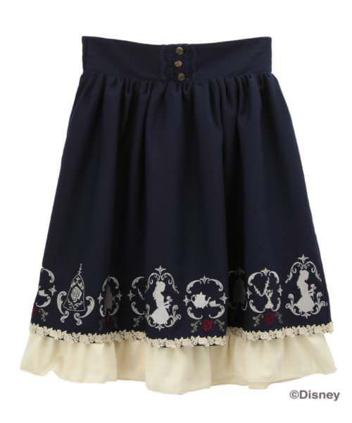 axes 繍スカート/美女と野獣 紺