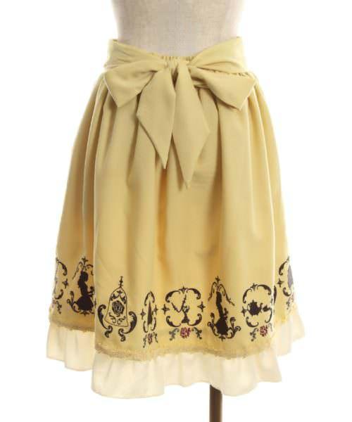 axes 繍スカート/美女と野獣 イエロー バック