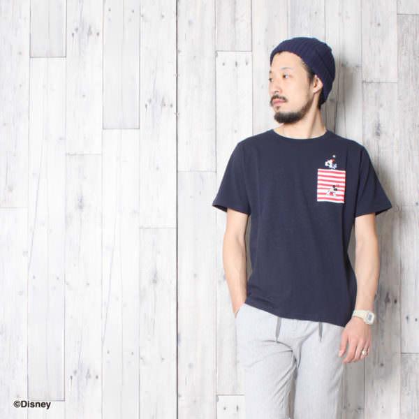 ミッキーマウスポケット付きTシャツ コーデ例2