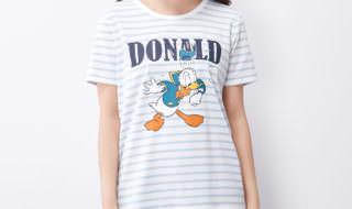 ドナルドダックTシャツ オフホワイトライトブルー