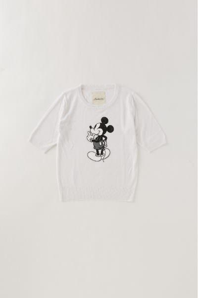 Moroko Bar ミッキーマウス5分袖ニット ホワイト