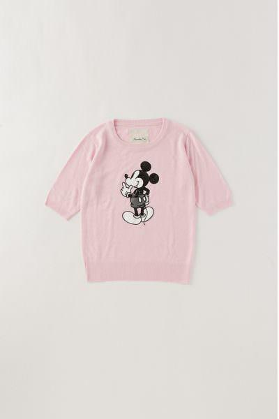 Moroko Bar ミッキーマウス5分袖ニット ピンク