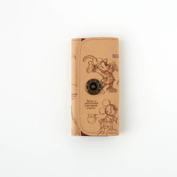 日本製レザーキーケース ミッキー バックスタイル