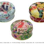 水彩タッチのデザイン缶入りオリジナルブレンド茶