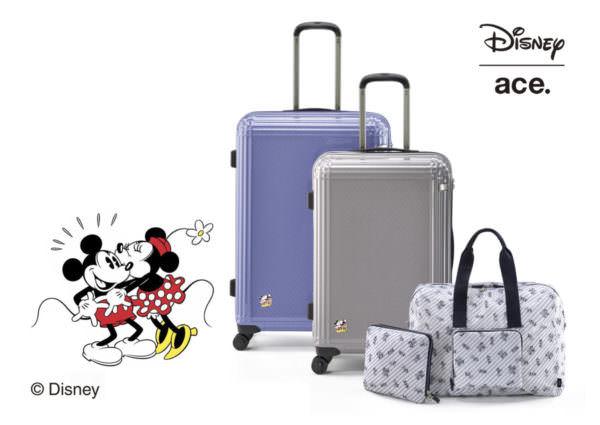エース ディズニーデザイン「ミッキー&ミニー スーツケース」「スーベニアバッグ」