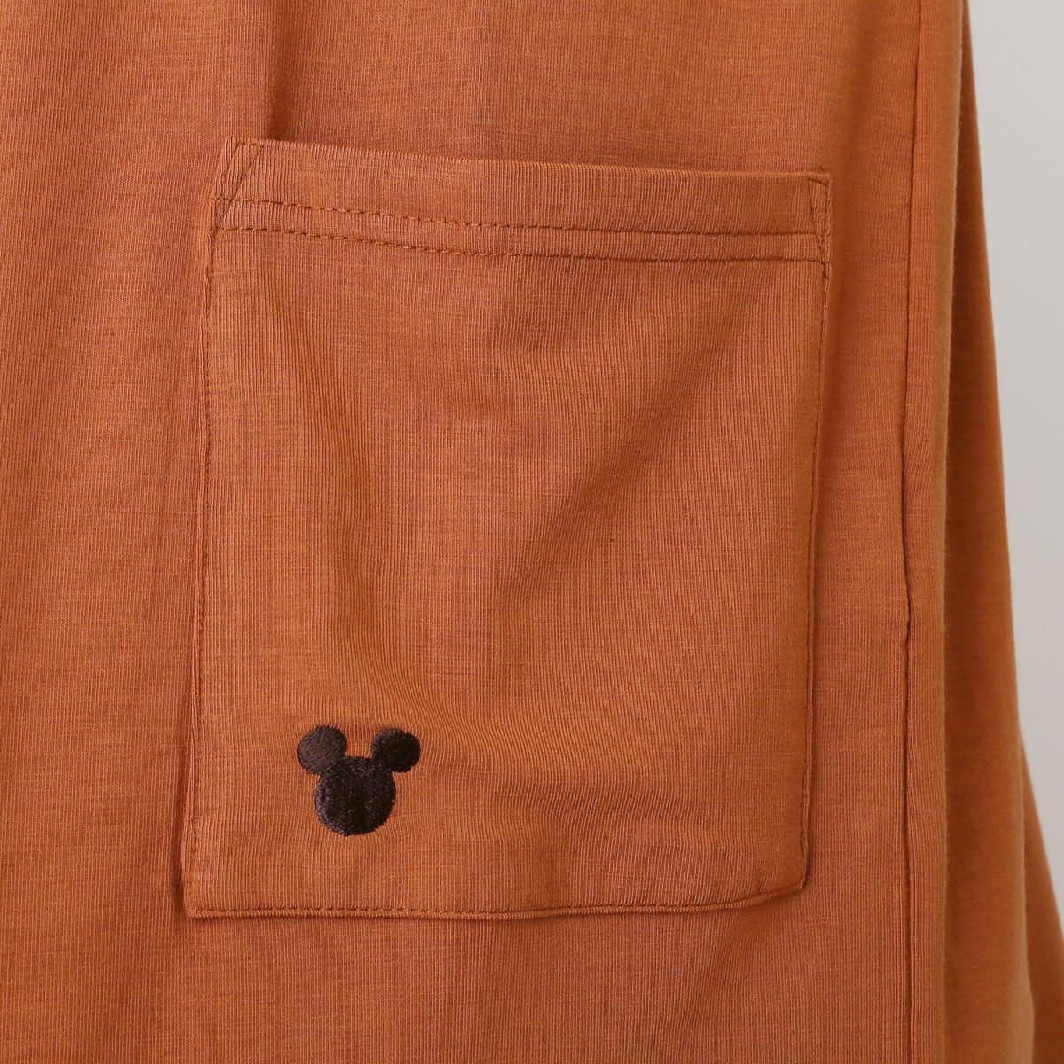 Vネック長袖Tシャツ&ロングカーディガンアンサンブル ポケットアップ テラコッタ   単品使いも楽しめる!ベルメゾン ディズニーデザイン「Vネック長袖Tシャツ&ロングカーディガンアンサンブル」