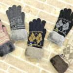 ワンポイント刺繍付き スマホ対応手袋