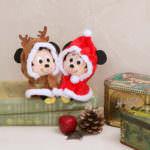 ディズニーキャラクター ちょっこりさんボールチェーン付きポンチョミッキー&ミニークリスマスセット イメージ2