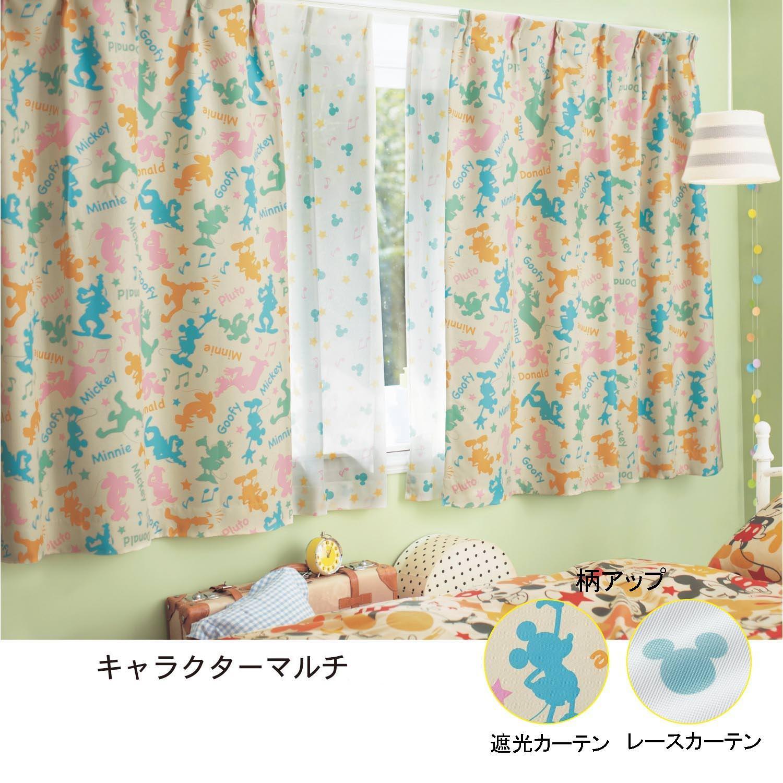 遮光カーテン&UVカット・ミラーレースカーテンセット キャラクターマルチ