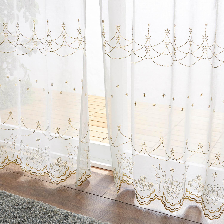 スカラップ刺繍ボイルカーテン