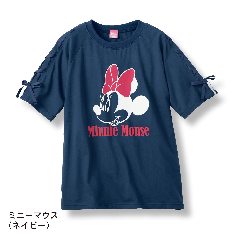 袖レースアップ五分袖Tシャツ ネイビー