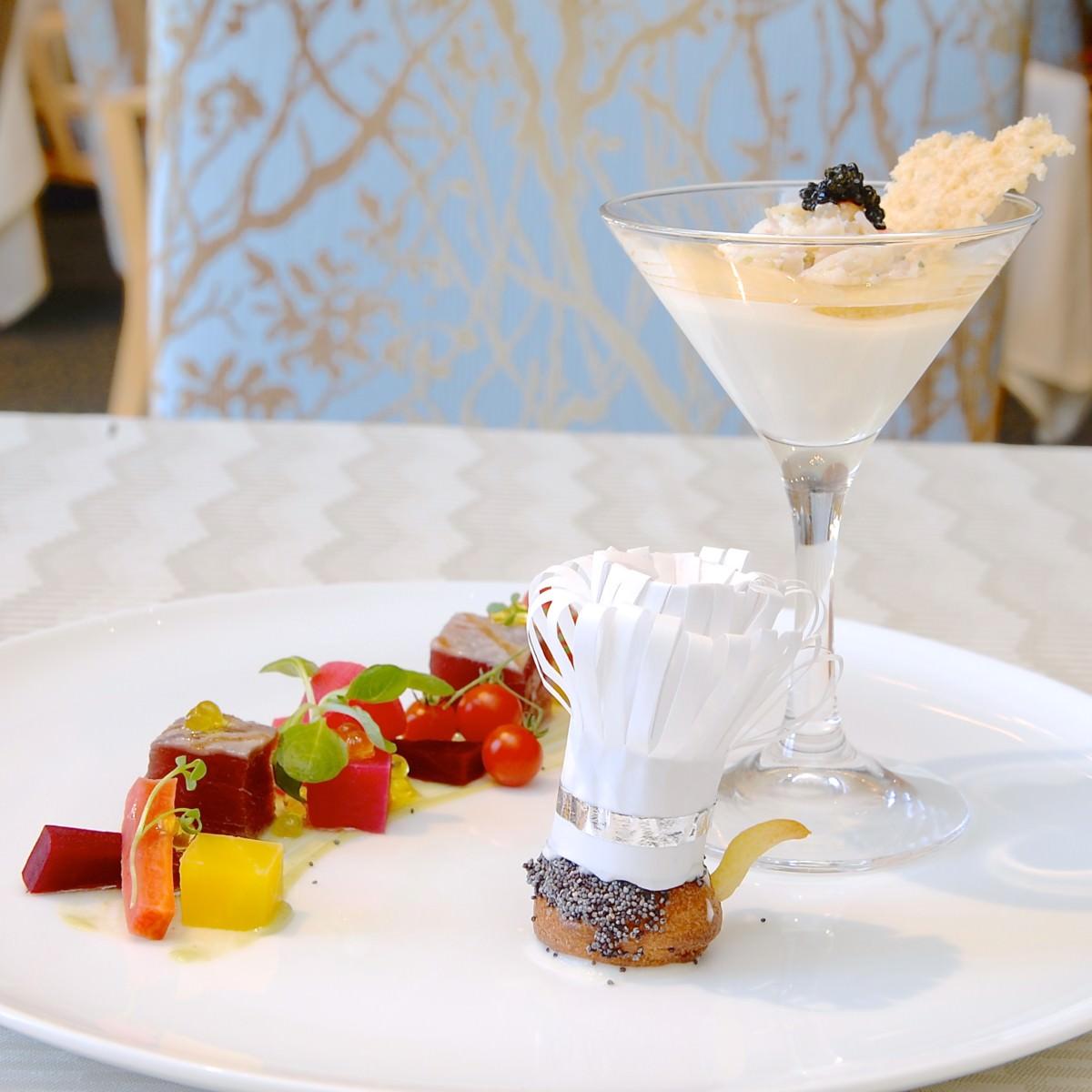 タラバ蟹のカクテルと鮪のマリネ グジェールと彩り野菜のグレック 2 | レミーが作ってくれたようなコースメニュー!オチェーアノ