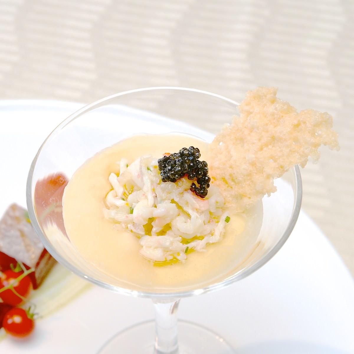タラバ蟹のカクテルと鮪のマリネ グジェールと彩り野菜のグレック 4