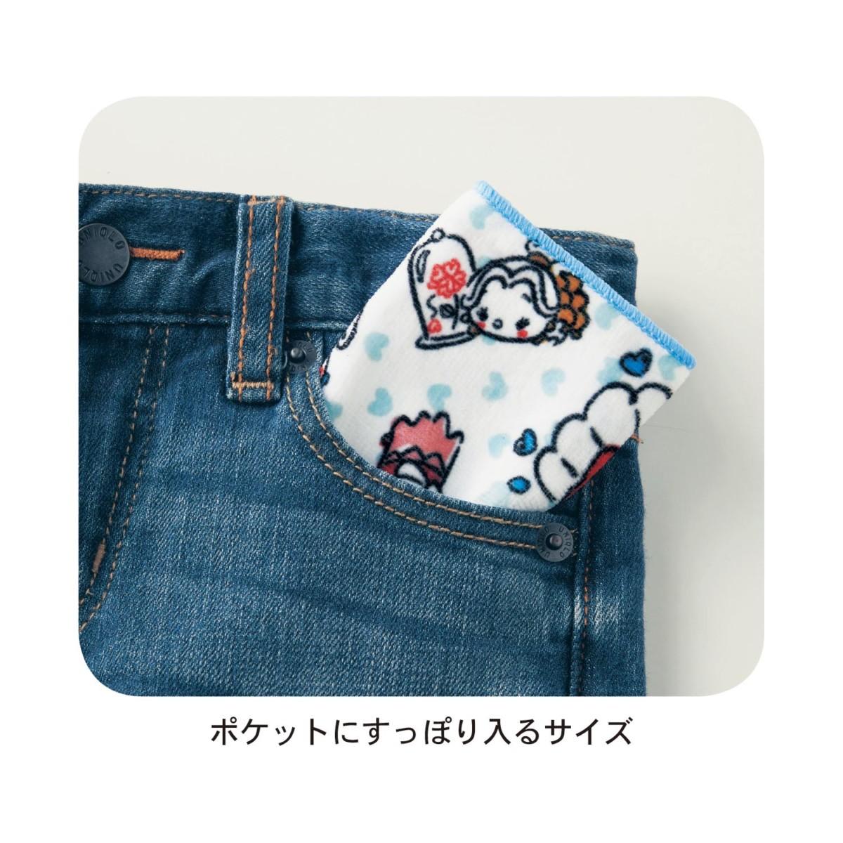 ポケットに入る三つ折りタオルハンカチ5柄セット サイズ感