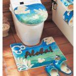 夏デザインのトイレマット・フタカバー ブルー