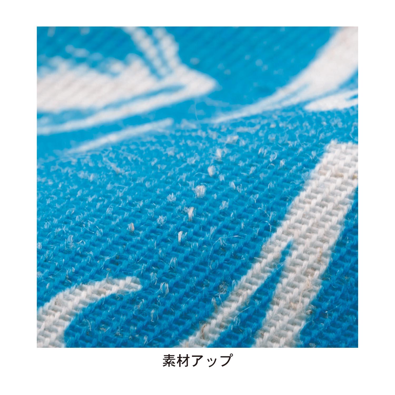 ハワイアンプリントの麻入りカーテン 素材アップ