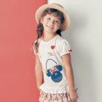 名札付けワッペン付き裾フリルパフ袖Tシャツ