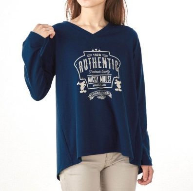 大人のための長袖プリントチュニックTシャツ ミッキー ネイビー
