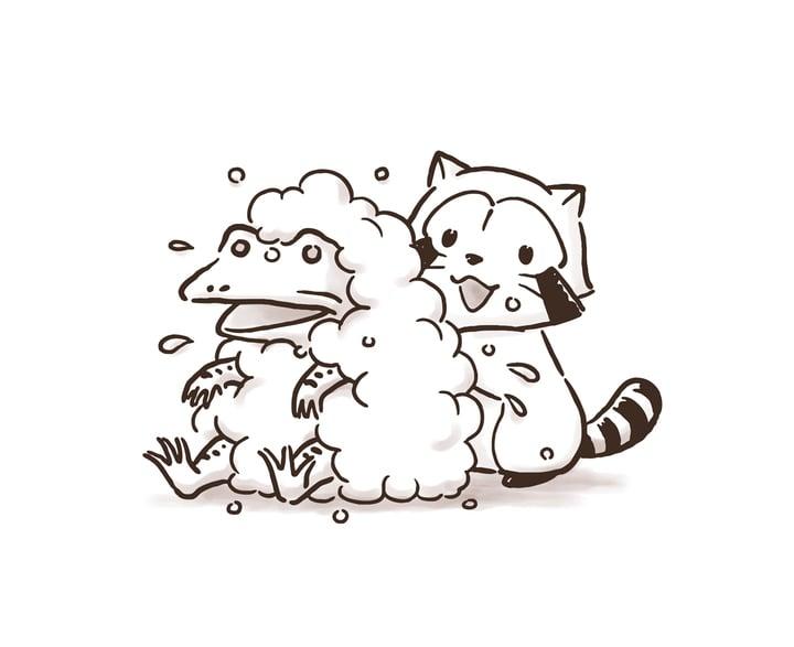 「ラスカルin鳥獣戯画」カエルを洗うラスカル