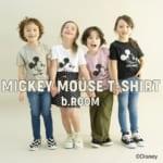 ミッキーマウスデザインかすれプリントTシャツ