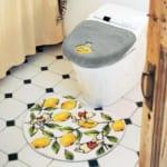 レモン柄のさわやかトイレマット・フタカバー