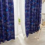 キラキラ箔プリントの遮光・遮熱カーテン ボイルカーテン
