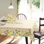 レモン柄の撥水テーブルクロス