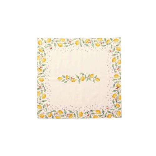 レモン柄の撥水テーブルクロス 130×130
