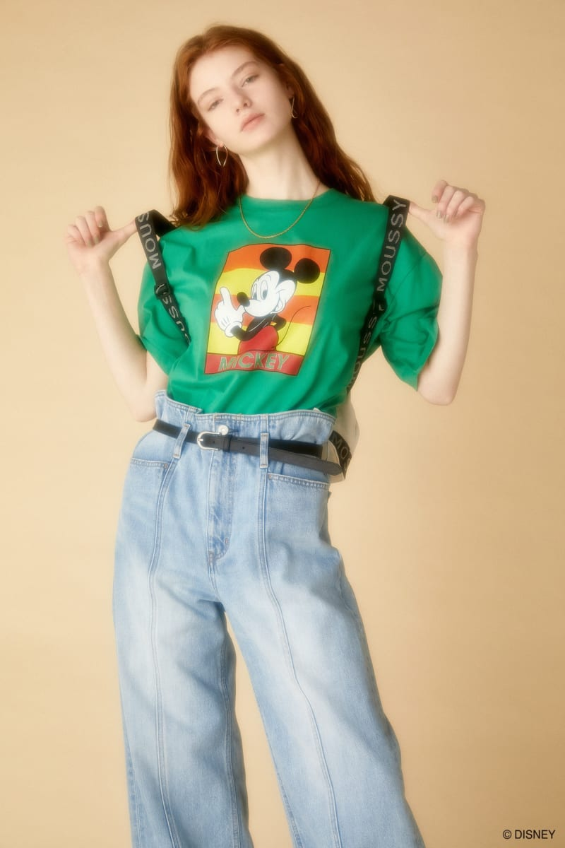 Disney SERIES CREATED by MOUSSY MICKEY ボックスボーダー Tシャツ