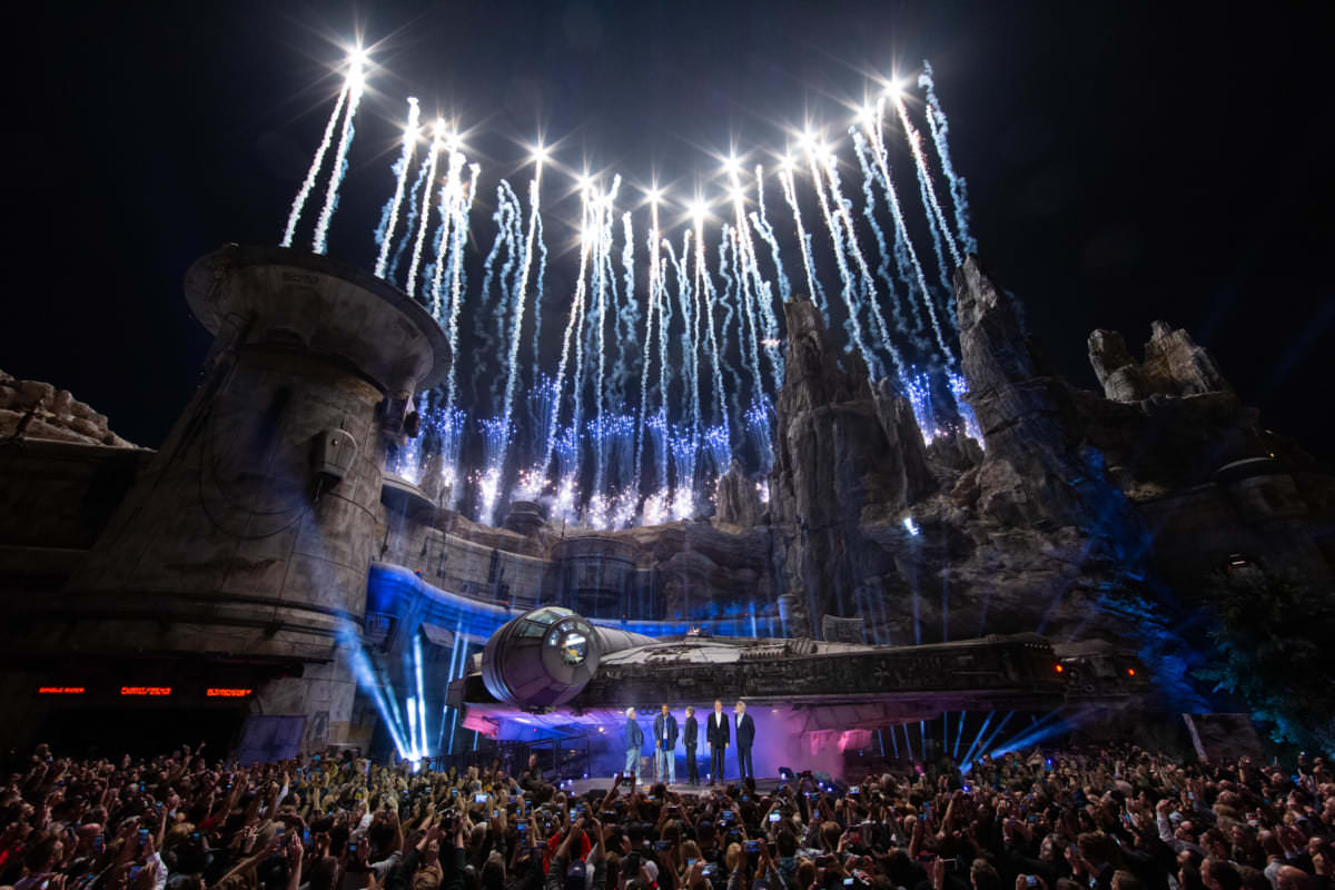 Star Wars: Galaxy's Edge at Disneyland Park in Anaheim, California, lights up with galactic fanfare during its pre-opening ceremony, May 29, 2019. Star Wars: Galaxy's Edge opens May 31, 2019, at Disneyland Resort in California and Aug. 29, 2019, at Walt Disney World Resort in Florida. Reservations and valid theme park admission are required to enterStar Wars: Galaxy's Edge at Disneyland Park between May 31 and June 23. (Joshua Sudock/Disneyland Resort)