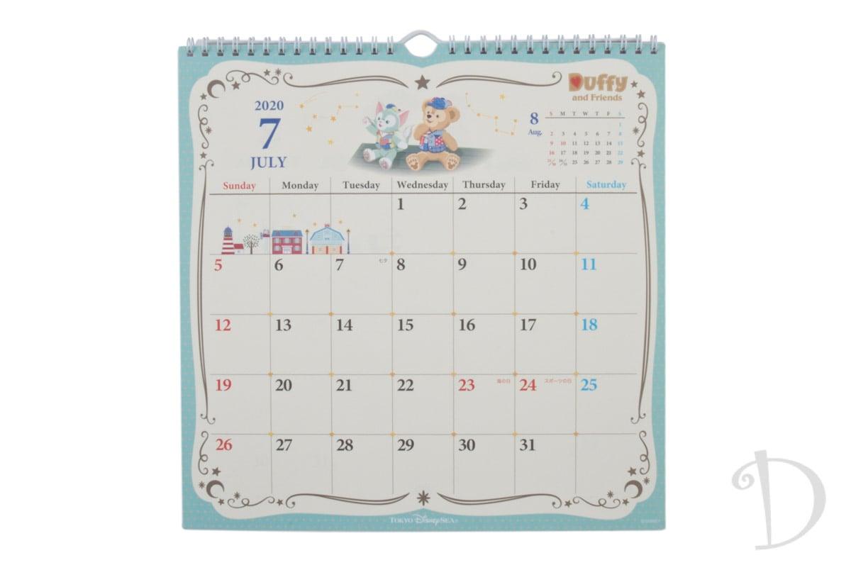 ダッフィー&フレンズ「2020年 カレンダー 壁掛けタイプ」7月