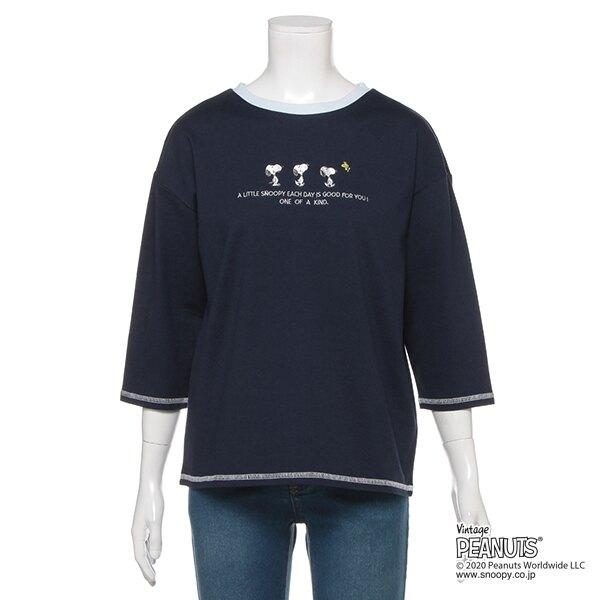 【PEANUTSコラボ】 オーガビッツ スヌーピー刺しゅう7分袖天竺Tシャツ3