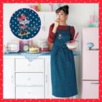 ワンポイント刺繍のロングエプロン 着用イメージ
