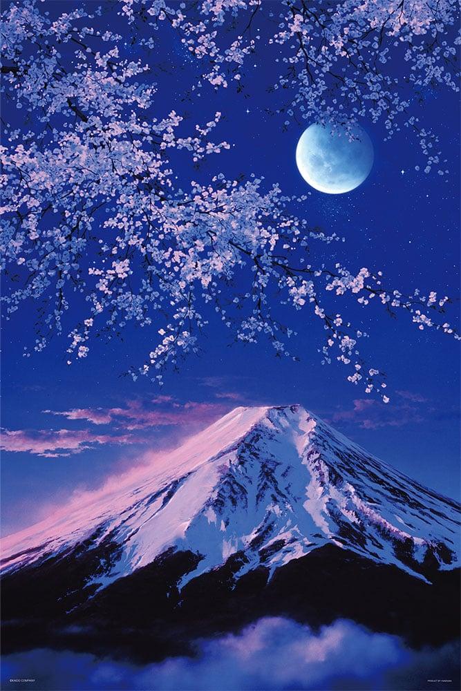 夕紅富士山と宵桜(JAPAN)