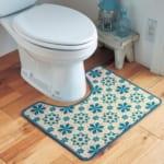 タイル調デザインのプリントトイレマット 使用イメージ