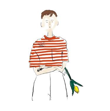 「なつ」Tシャツしましま赤、青 デザイン画