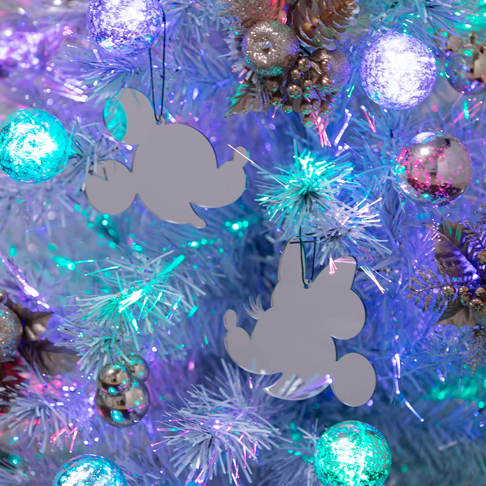 クリスマスファイバーツリーセット「シャイニーホワイト」 点灯時