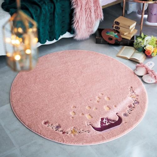 刺繍デザインのふわふわ円形ラグ ラプンツェル