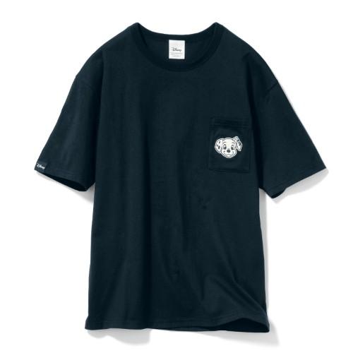 ちびカオポケットTシャツ 101匹わんちゃん ブラック