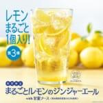 モスバーガー「まるごと!レモンのジンジャーエールwith甘夏ソース <熊本県産甘夏果汁0.5%使用>」と「甘夏 ジンジャーエール <熊本県産甘夏果汁0.5%使用>」