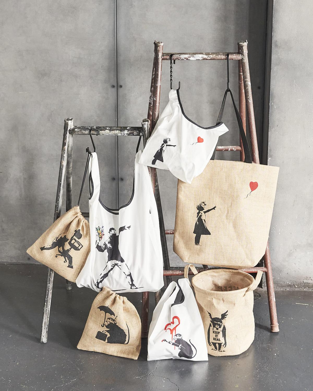 ASOKO「Banksy(バンクシー)」グラフィティ限定アイテム ジュート巾着、ジュートバスケット、ジュートバッグ、エコバッグ