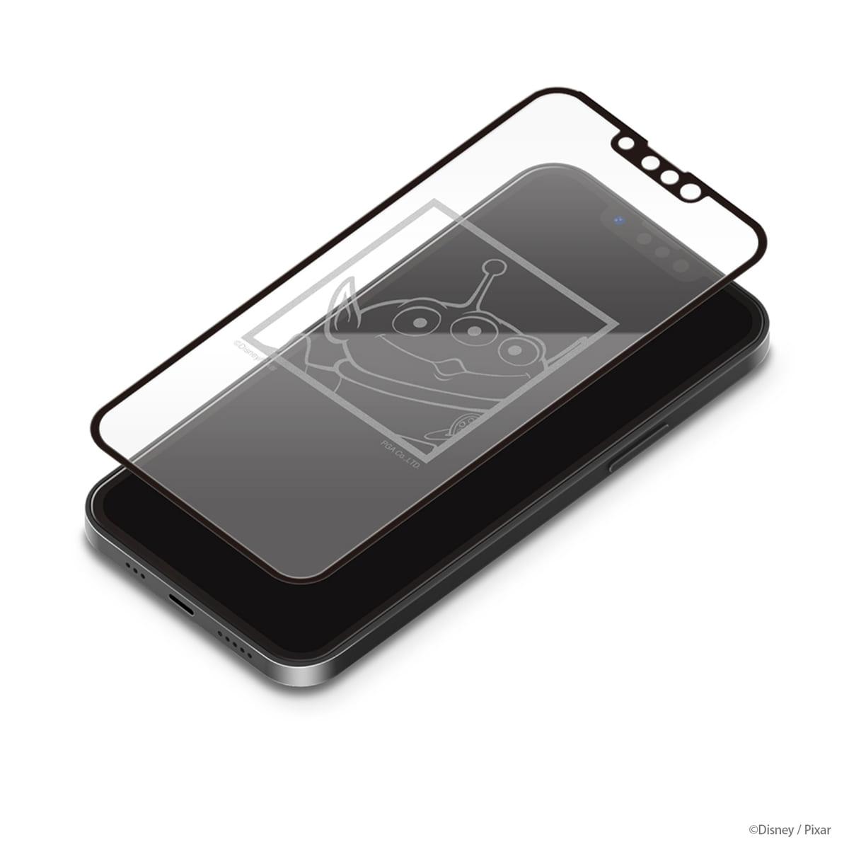 PGA iPhone 13/13 Pro用 抗菌液晶全面保護ガラス [エイリアン]
