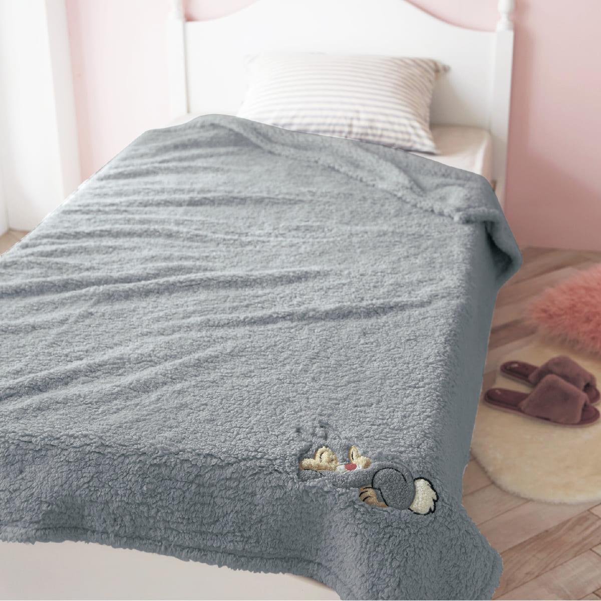 アップリケ付きもふもふ毛布 とんすけ