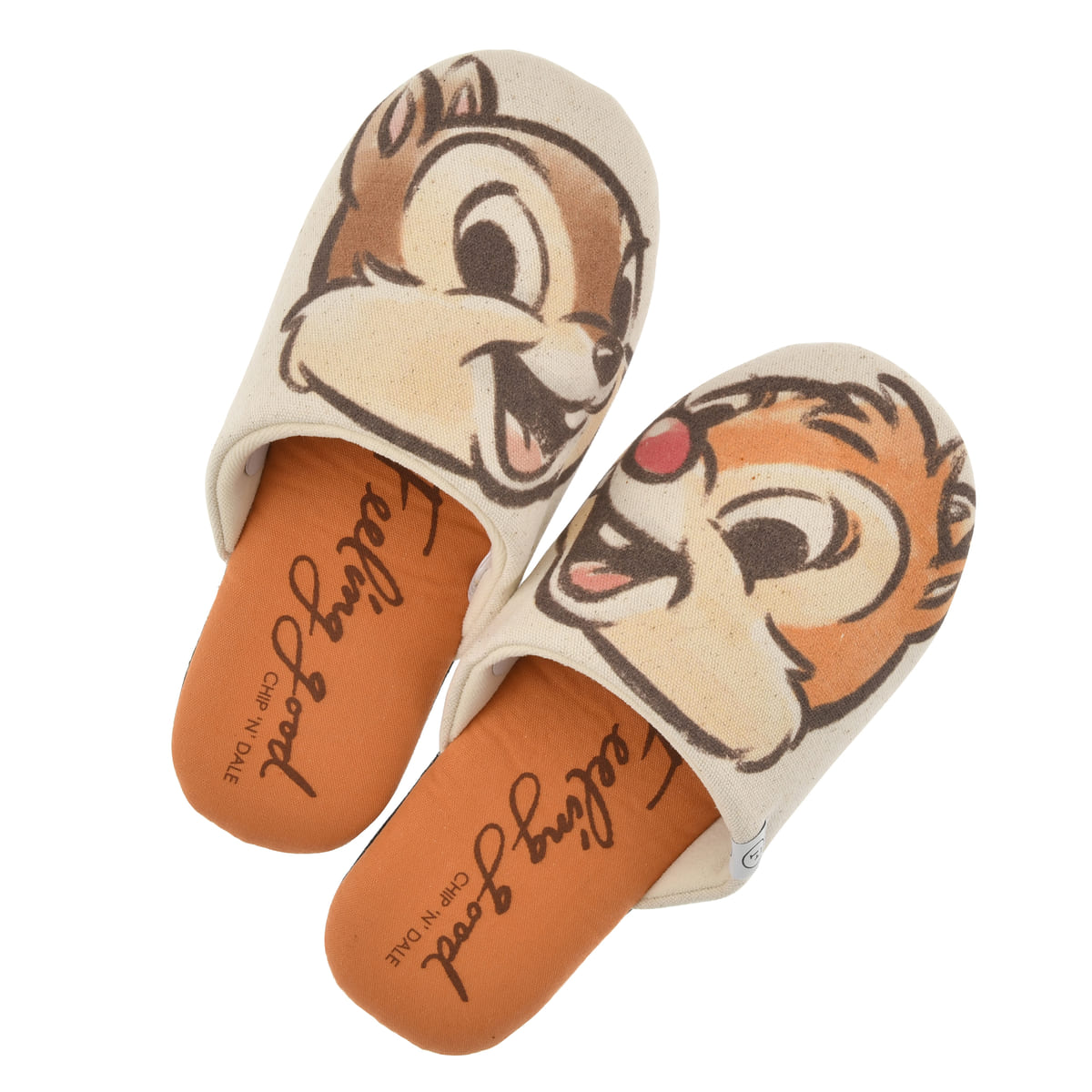 【FOOD TEXTILE】チップ&デール ルームシューズ オレンジ Chip&Dale FOOD TEXTILE02